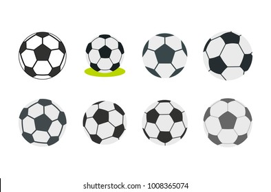 Soccer ball icon set. Flat set of soccer ball vector icons for web design isolated on white background