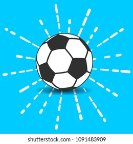 soccer ball icon with shadow and flash white linear rays of firework on a blue background