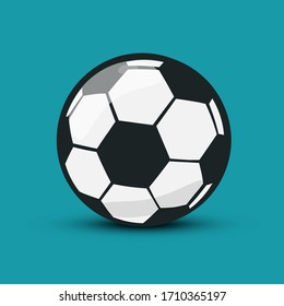 Soccer Ball Icon. Vector Football Ball Symbol Isolated on Blue Background
