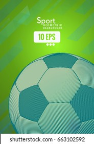 Soccer ball illustration on stripe line speed background with blue color tone