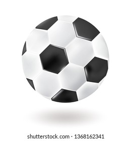 Soccer ball isolated on blue background. Realistic style. Vector design,