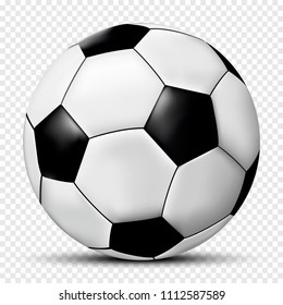 Soccer ball isolated on transparent background with shadow