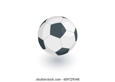 soccer ball isometric flat icon. 3d vector colorful illustration. Pictogram isolated on white background