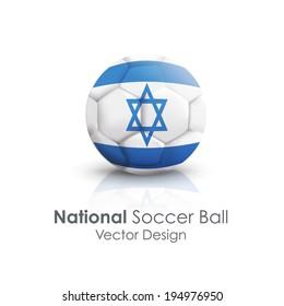 Soccer ball of Israel over white background