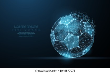 Soccer ball. Low poly wireframe mesh with crumbled edge and looks like constellation on dark blue background with dots and stars. Soccer symbol, illustration or background