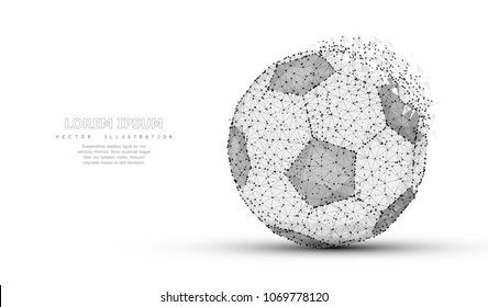 Soccer ball. Low poly wireframe mesh with crumbled edge isolated on white background with dots. Soccer symbol, illustration or background