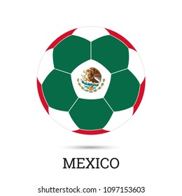 Soccer ball with Mexican national colors and emblem vector illustration