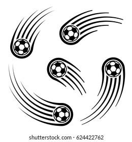 soccer ball motion line symbol vector