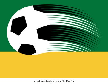soccer ball in motion, with text area