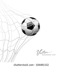 Soccer ball in net. isolated on white background, vector illustration