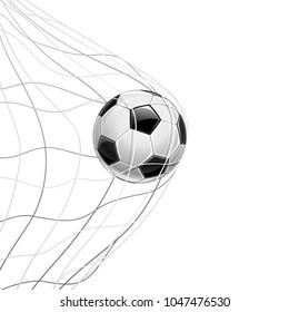 Soccer Ball in Net Isolated on White. Vector illustration