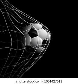 Soccer Ball in Net Isolated on Black. Vector illustration