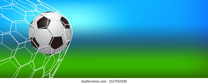 Soccer ball in the net, mesh, football ball in goal, soccer ball on the field background, template banner for posters of football or soccer games, championships, tournaments – stock vector