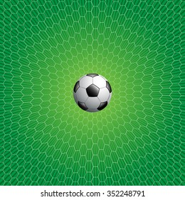 Soccer ball and net on green background vector illustration for sport background.