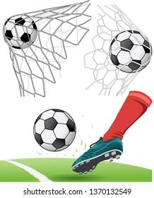 soccer ball in a net - vector