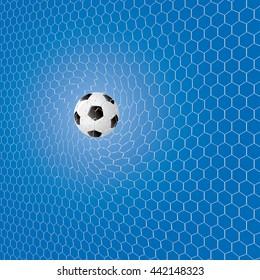 Soccer ball in the net vector illustration.