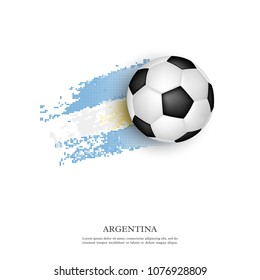 Soccer ball on Argentina flag in halftone style. Isolated on white background. Vector illustration.