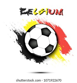 Soccer ball on the background of the Belgium flag in grunge style. Vector illustration