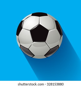 Soccer ball on a blue background. Vector illustration.
