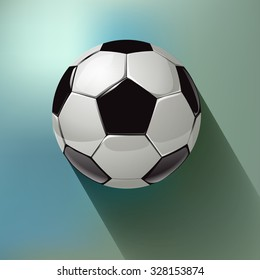 Soccer ball on a blue bokeh fog background. Vector illustration.