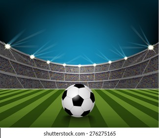 Soccer ball on the field of stadium with light. vector
