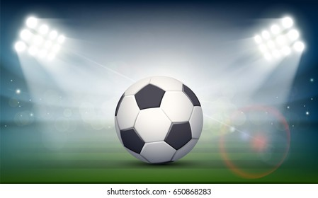 Soccer ball on the field of the stadium. Sports background illuminated by searchlights. Stock vector illustration.