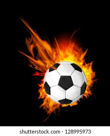 Soccer Ball on Fire. Illustration on black background
