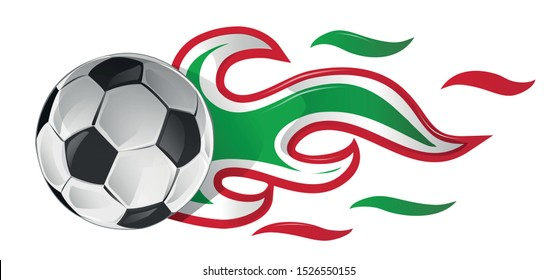 soccer ball on fire with italian and mexican flag. illustration