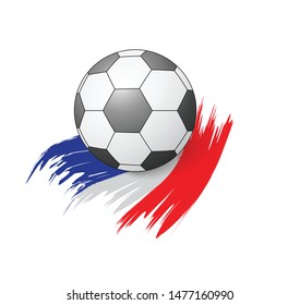 soccer ball on flag of France . football. Football banner. Flag of France