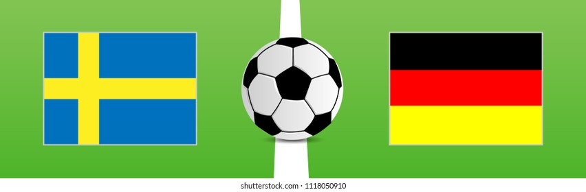Soccer Ball on grass with tthe flags of Sweden and Germany, vector illustration
