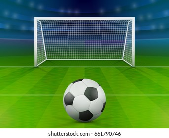 Soccer ball on green field in front of goal post. Association football ball against soccer stadium. Best vector illustration for soccer, sport game, football, championship, gameplay, etc