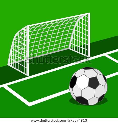 Soccer Ball On Green Field Stock Vector (Royalty Free) 575874913 ... 83b92eecc765b