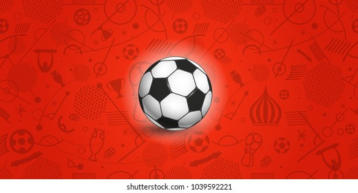 Soccer ball on red background of different soccer elements