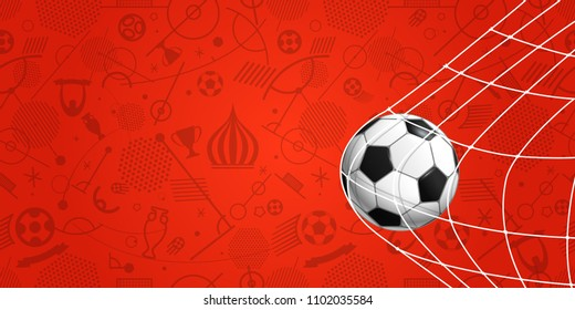 Soccer ball on red background. Football banner template
