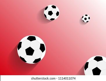 Soccer ball on red background. Vector illustration.
