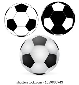 Soccer ball. Outline and 3d elements. Vector illustration isolated on white background