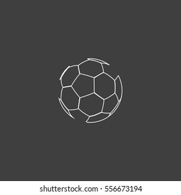 Soccer ball Outline vector icon. Contour line white pictogram on black background. Illustration symbol