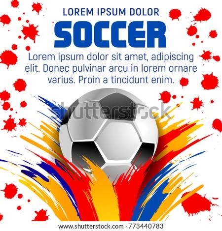 Soccer Ball Paint Splash Poster Football Stock-Vektorgrafik ...