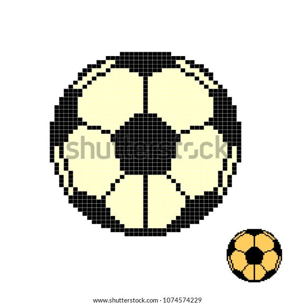 Soccer Ball Pixel Art Football Pixelated Stock Vector