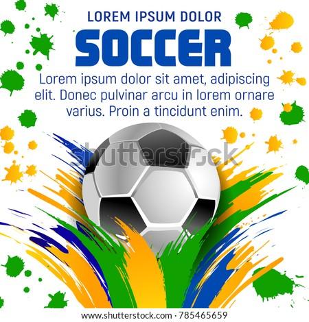 vetor stock de soccer ball poster template football game livre de