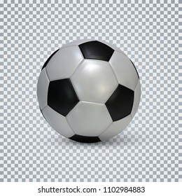 Soccer ball. Realistic football ball with shadow on transparent background. Vector illustration