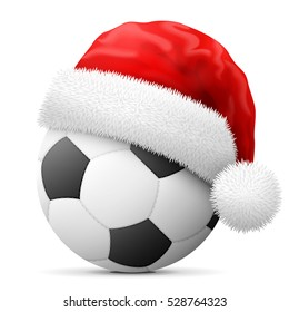 Soccer ball in red Santa Claus hat. Christmas hat is put on association football ball. Vector illustration for christmas, soccer, new years day, sport, decoration, new years eve, winter holiday, etc