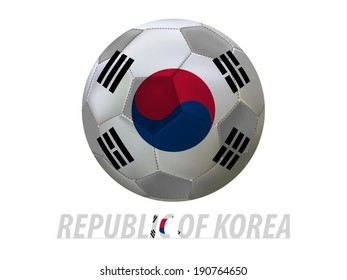 Soccer ball with republic of korea flag isolated in white