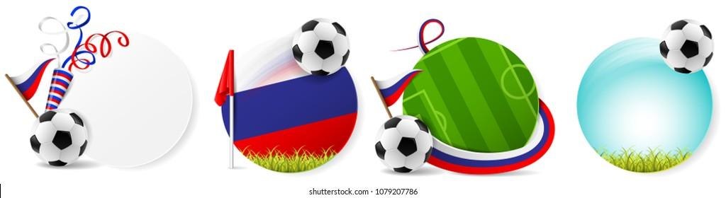 Soccer ball russia buttons vector set
