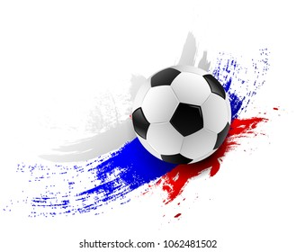Soccer ball with russia flag colors brush