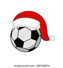 Soccer ball in Santa Claus hat. Sports New Year and Christmas