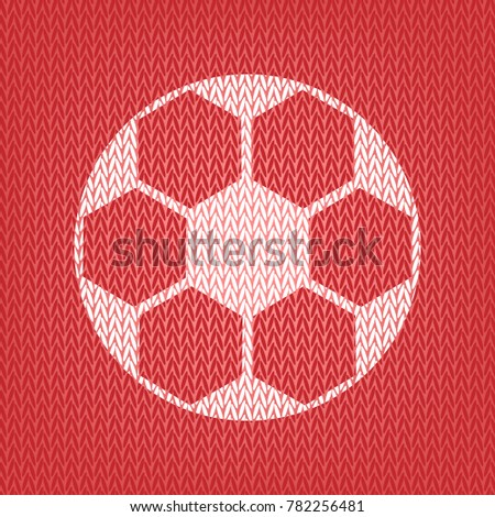 Soccer Ball Sign Vector Knitted White Stock Vector Royalty Free