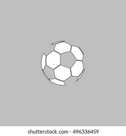 Soccer ball Simple line vector button. Thin line illustration icon. White outline symbol on grey background