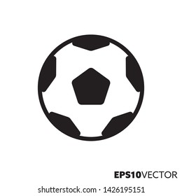 Soccer ball solid black icon. Glyph symbol of football and team sports. Equipment flat vector illustration.
