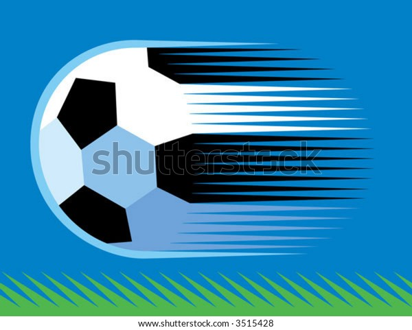 a soccer ball speeding over grass